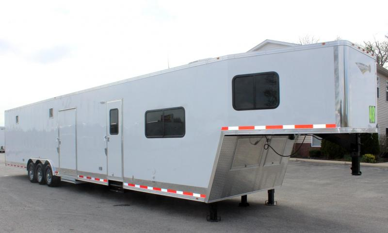 <b>DRAGSTER PKG w/TAPERED NOSE</b>  2019 48' Millennium Silver Gooseneck Trailer w/12'S +8' Living Quarters w/King Size Bath