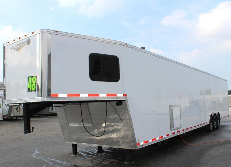 <b>Large Bathroom Option</b> 2020 48' Millennium Platinum GN Race Trailer LOADED