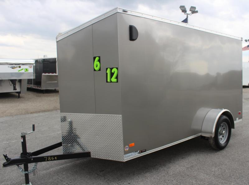 <b>Now Available</b> 2019 6'x12' Scout Pewter Metallic  Enclosed Cargo Trailer Plus Pkg & Free Options
