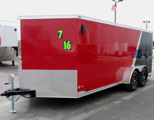 2016 7'x16' Star Low Rider Motorcycle Trailer Red/Black