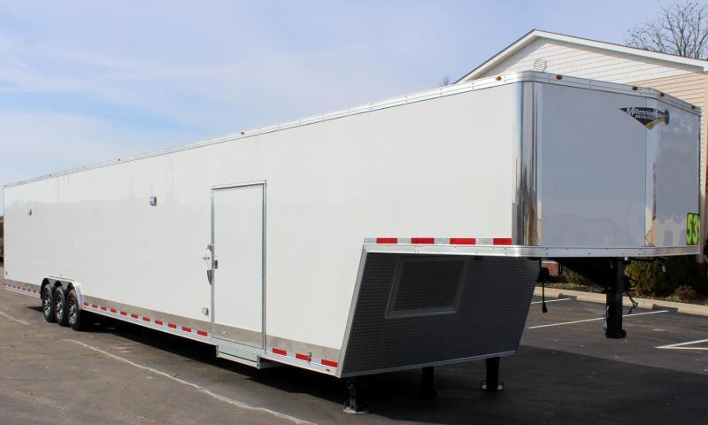 <b>READY 4/10</b> 2020 53' Millennium Silver Gooseneck Enclosed Trailer/ 90' Rec. E-Track Finished Int.