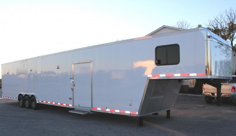 <b>SOLD*ORDERS ONLY</b> FULL LARGE BATHROOM w/SHOWER 2019 48' Millennium Platinum Enclosed Gooseneck Trailer Perfect Price/Perfect Options