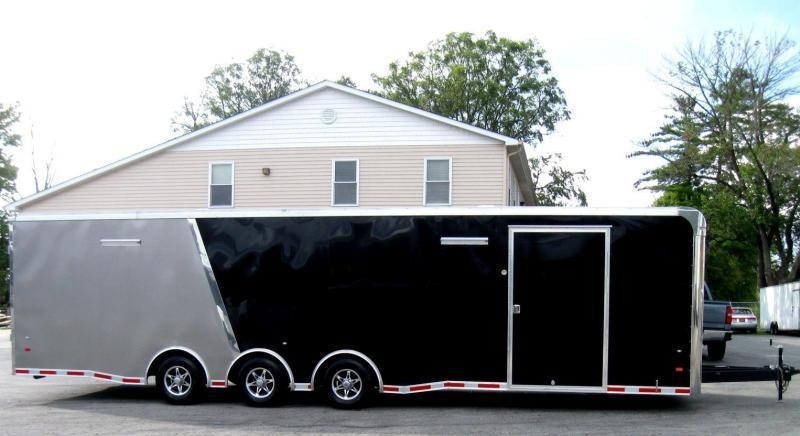 <b>Now Available</b> 2019 32' Millennium Thunderbolt Race Trailer Spread Axles Alum Wheels & More!