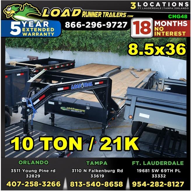 *CHG48* 8.5x36 10 TON Gooseneck Car Hauler Trailer  21K Trailers 8.5 x 36   CHG102-36TT7-DOF