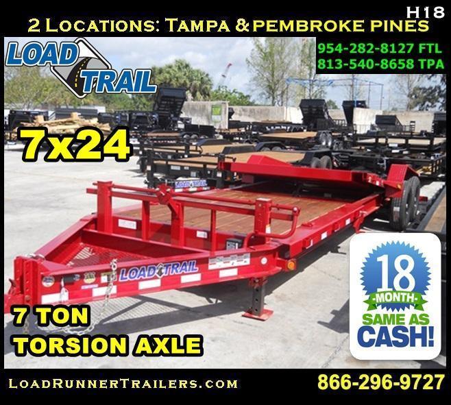 *H18* 7x24 7 TON Tilt Equipment Trailer 16' Title + 8' Flat 7 x 24 | T83-16+8T7-GT