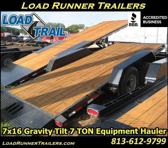 H27  Tilt Deck Equipment Hauler   7x16 Trailer  LR Trailers & Haulers  H27