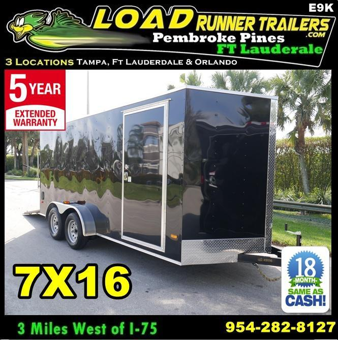 *E9K* 7x16 Enclosed Cargo Trailer Tandem Axle Hauler 7 x 16 | EV7-16T3-R