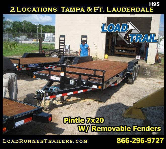H95 | 7x20 7 TON Pintle Car Hauler w/ Removable Fenders | LR Trailers