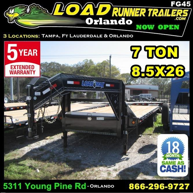 *FG45* 8.5x26 Gooseneck Flatbed Deck Dove Tail 7 TON 8.5 x 26 | FG102-26T7-FF