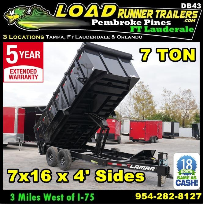 *DB43* 7x16 Lamar Dumps and Trailers |7 TON Dump Trailer 7 x 16 | D83-16T7-LP/48S