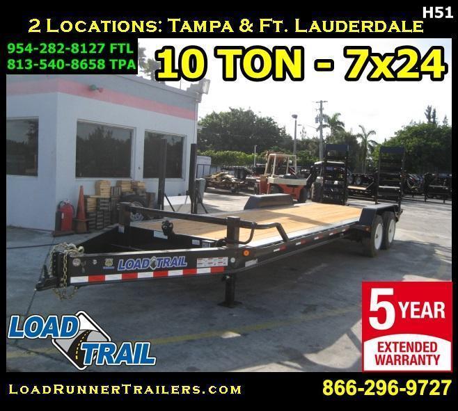 *H51* 7x24 10 TON Equipment Hauler Tandem Axle Trailer 7 x 24   EQ82-24T10T-KR
