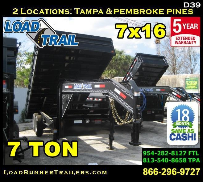 *D39* 8x16 7 TON Dump Trailer Flatbed Fold Down Sides 8 x 16 | DG96-16T7-18S
