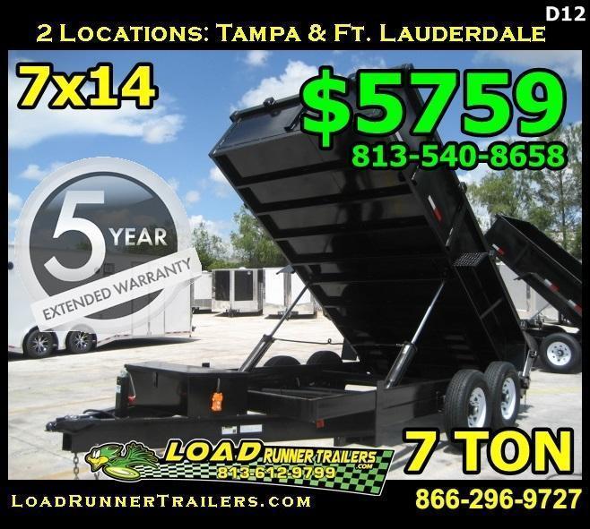 *D12C* 7x14 Twin Piston Dump Trailer 7 TON 7 x 14 | D82-14T7-24S