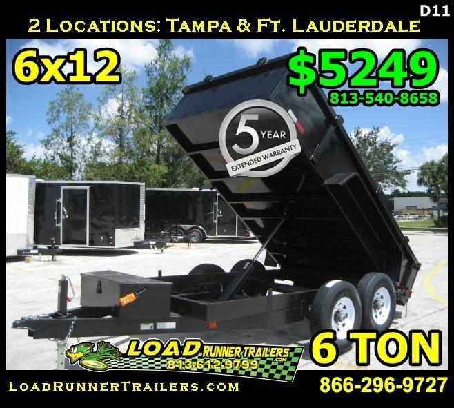 *D11* 6x12 LRT Dumps and Trailers 6 TON Dump Trailer 6 x 12 | D72-12T6-24S
