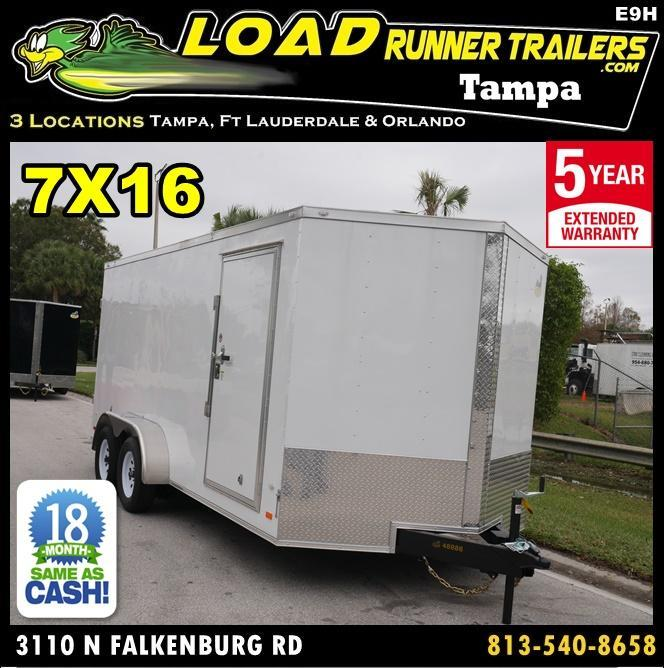 *E9H* 7x16 Enclosed Cargo Trailer | 5 YEAR WARRANTY | V Nose 7 x 16 | EV7-16T3-R