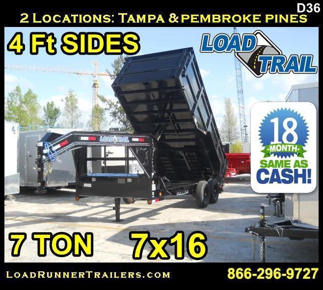 *D36* 7x12 7 TON Load Trail Gooseneck Dump Trailer 7 x 12 | D83-12T7-24S