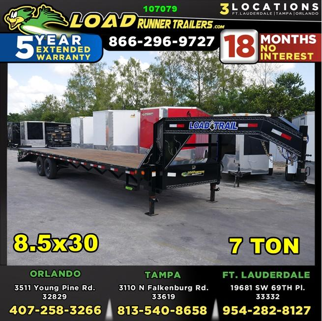*107079* 8.5x30 Gooseneck Flatbed Deck Over Trailer |LRT Tandem Axle Trailers 8.5 x 30