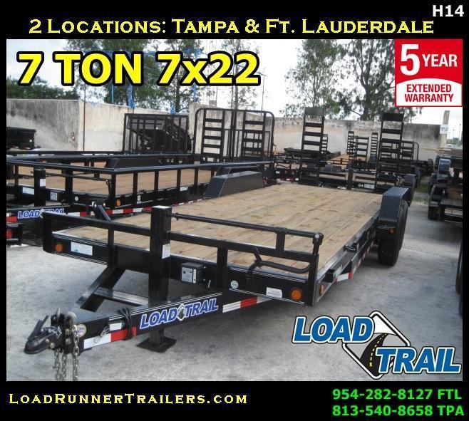*H14* 7x22 7 TON Equipment Trailer  Car Hauler w/Ramps 7 x 22 | EQ83-22T7-KR
