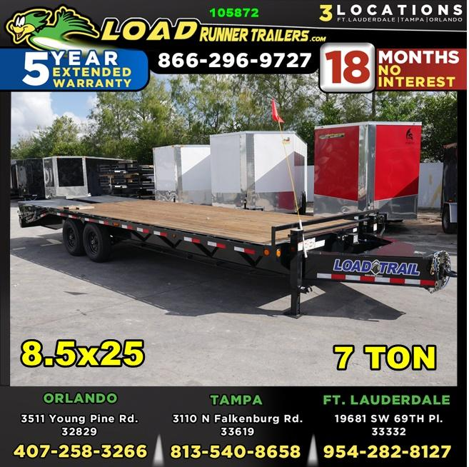 *105872* 8.5x25 Flatbed Deck Over Trailer |LRT Tandem Axle Trailers 8.5 x 25 | FP102-25T7-MPD