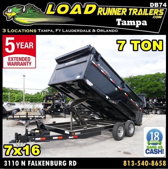 *DB74* 7x16 7 Ton Tandem Axle Dump Trailer Iron Bull Trailers 7 x 16 | D83-16T7-48S