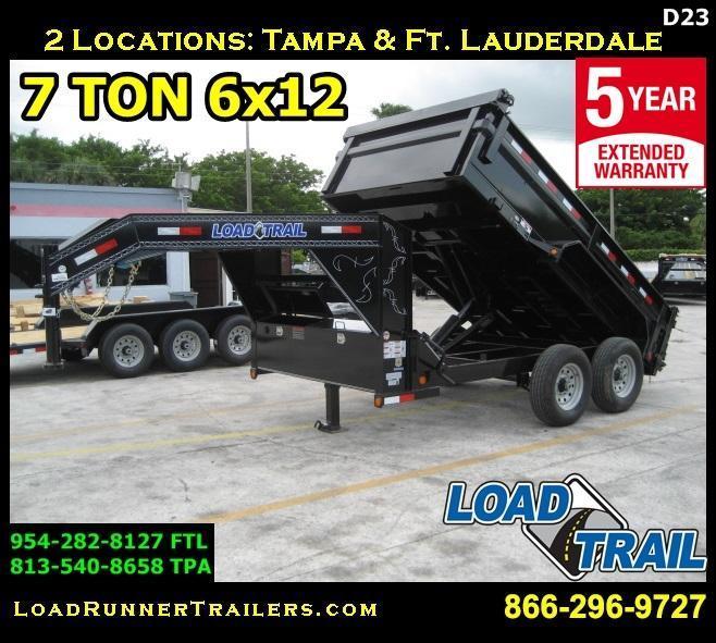 *D23* 7x12 Gooseneck Dump Trailer 7 TON Dumps 7 x 12 | DG83-12T7-24S