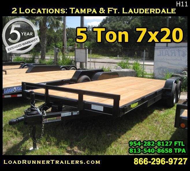 *H65* 7x20 5 TON Car Hauler Trailer Tandem 5200# Axles 7 x 20 | CH82-20T5-1B