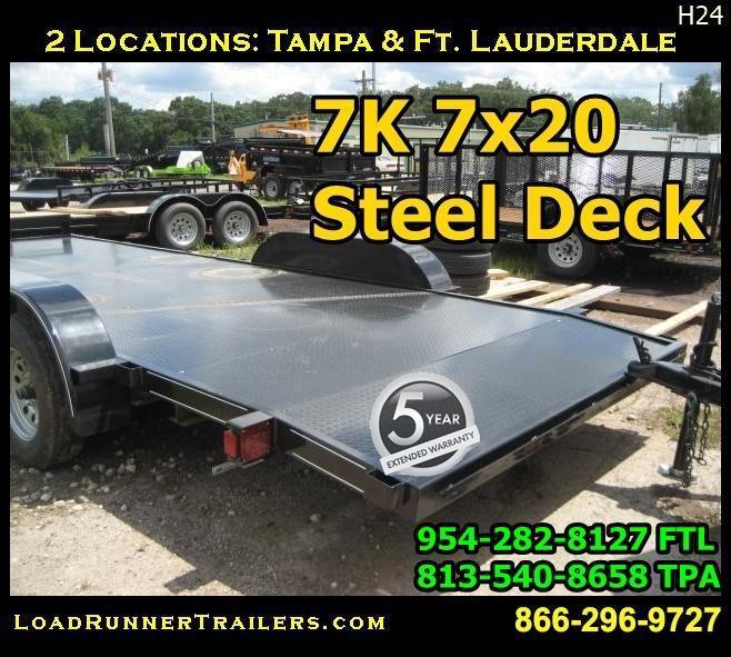 *H24* 7x20 7K Car Hauler Trailer Steel Deck Haulers 7 x 20   CH82-20T3-1B-SD