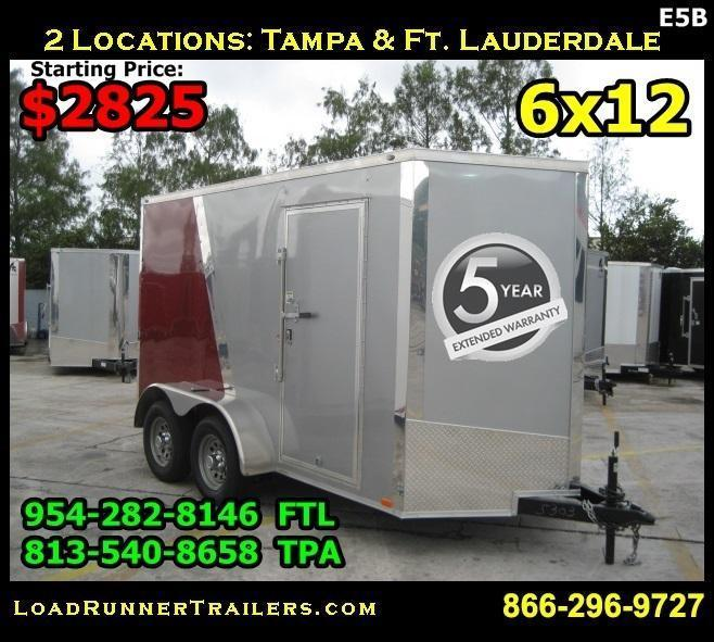 *E5B* 6x12 Enclosed Cargo Trailer Box Covered 6 x 12 | EV6-12T3-R