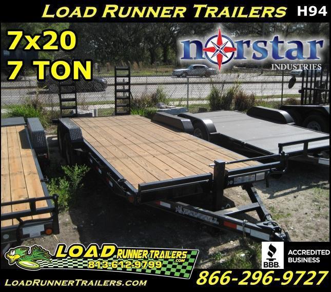 *H94* 7x20 Equipment Hauler Trailer 7 TON w/Kicker Ramps 7 x 20 | EQ83-20T7