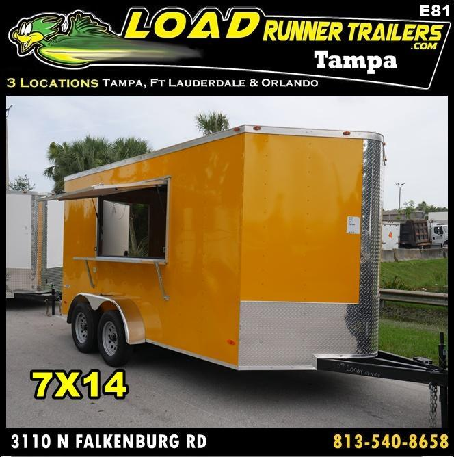 *E81* 7x14 Enclosed Cargo Concession Trailer | Tandem Axle 7 x 14 | EV7-14T3-CONS/D