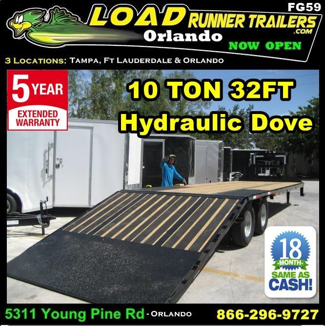 *FG59* 8.5x32 Flatbed Gooseneck Trailer 10 Ton Deck Over With Hydraulic Dove 8.5 x 32 | FG102-32T10-HYD
