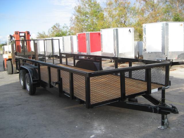 *U41* 7x20 Tandem 3500# Axles Utility Trailer w/Tube Rail & 2' Mesh Sides 7 x 20 | U82-20T3-1B-TR/2M
