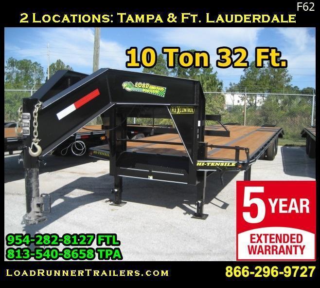 *F62* 8.5x32 Gooseneck Flatbed Trailer 10 TON Deck Over Low Profile 8.5 x 32 | FG102-32T10-LP/FF
