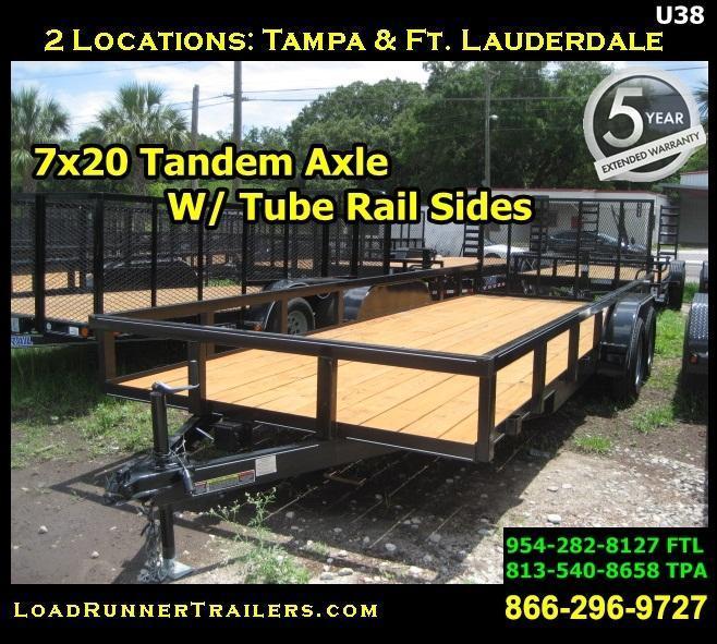 *U38* 7x20 Utility Trailer Elec Brakes Inc. 7 x 20 | U82-20T3-1B-TR