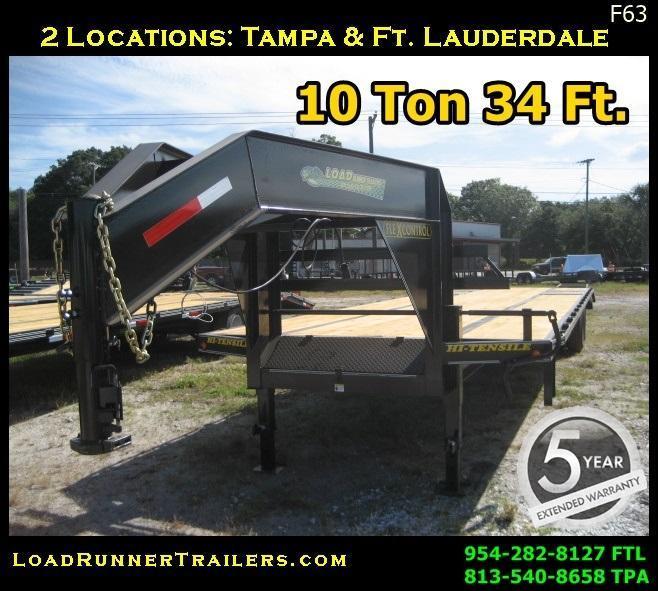 *F63*  Gooseneck 10-Ton Flatbed Trailer Low-Pro Dove Tail    FG102-34T10-LP/FF
