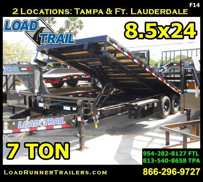 *F14* 8.5x24 Flatbed Deck Over Tilt Equipment Hauler Trailer 8.5 x 24 | TFC102-24T7-PT