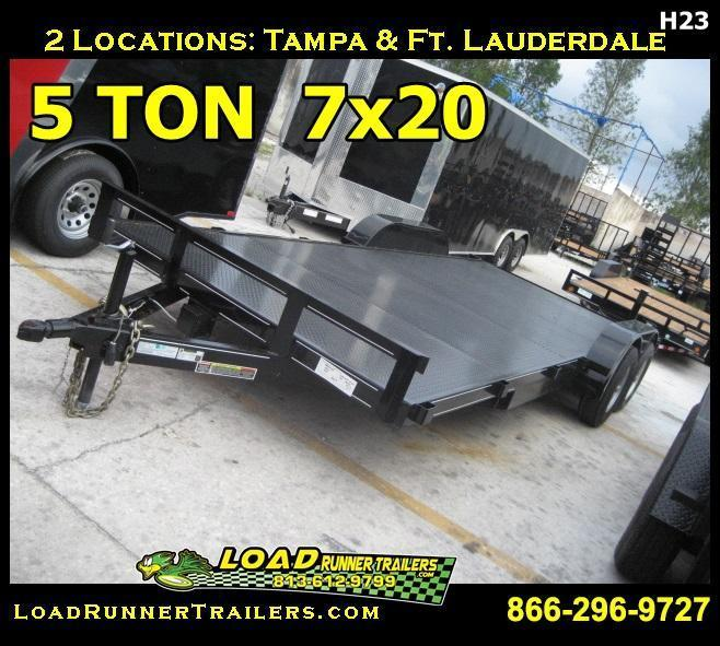 *H23* 7x20 5 TON Steel Deck Car Hauler W/Slide In Ramps 7 x 20 | CH82-20T5-1B-SD