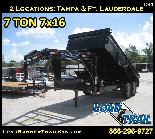 *D41* 7x16 Gooseneck Dump Trailer 7 TON LOAD TRAIL 7 x 16 | DG83-16T7-24S