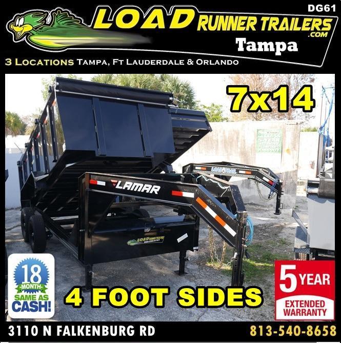 *DG61* 7x14 Dump Trailer 4' Sides 7 TON Gooseneck Trailers 7 x 14 | DG83-14T7-LP/48S