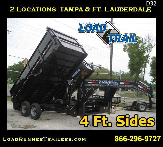 D32 | 4 Ft Sides LOAD TRAIL Dump Trailer 7x16 7 TON Gooseneck | 4 Foot