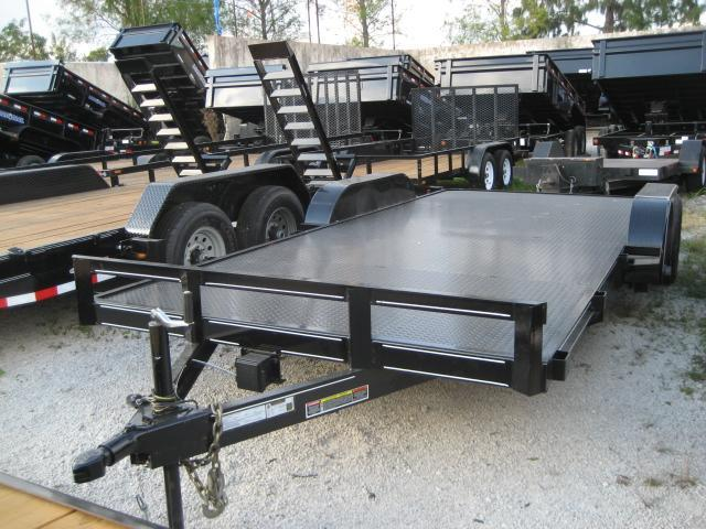 *H54* 7x18 Car Hauler Steel Deck Trailer Tandem 5200# Axles 7 x 18 | CH82-18T5-2B-SD