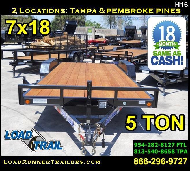 *H16* 7x18 Car Hauler Trailer Load Trail 5 TON Trailers 7 x 18 | CH83-18T5-2B