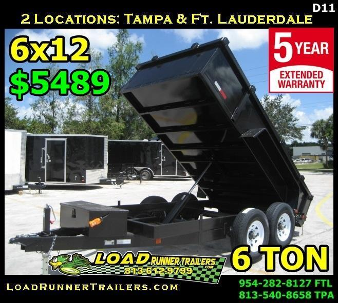 *D11B* 6x12 6 TON Dump Trailer | Dumps & Trailers 6 x 12 | D72-12T6-24S