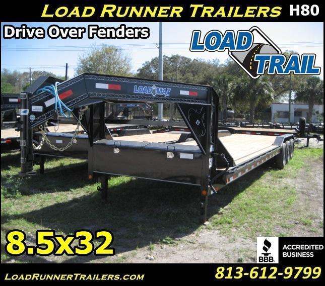*H80* 8.5x32 Gooseneck Car Hauler Drive Over Fenders | CHG102-32TT7-DOF | 8.5 x 32