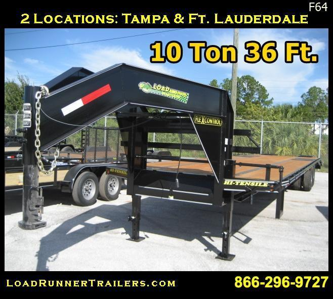 F64  36' Gooseneck 10-Ton Low-Profile Dove Tail Trailer   LR Trailers   F64