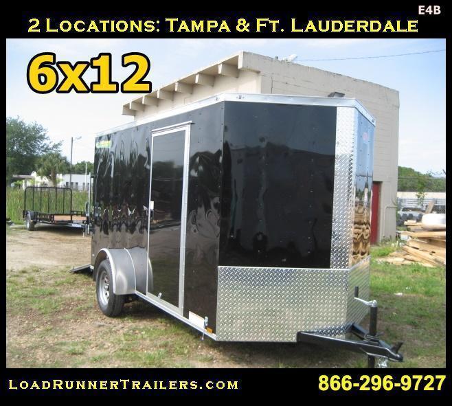 *E4B* 6x12 Cargo Enclosed Trailer Single Axle Trailers 6 x 12   EV6-12S-R