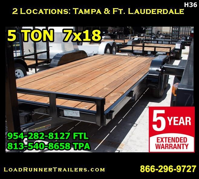 *H36* 7x18 7x18 Car Hauler Trailer 5 TON 7 x 18 | CH82-18T5-2B