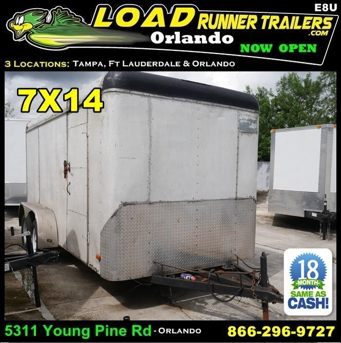 *E8U* 7x14 Enclosed Trailer Cargo Tandem Axle Big Band 7 x 14 | EF7-14T3-R