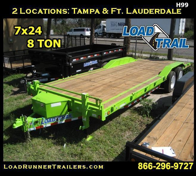 *H99* 8.5x24 Car Hauler Trailer 8 TON w/G Rated Tires 8.5 x 24 | CH102-24T8-DOF