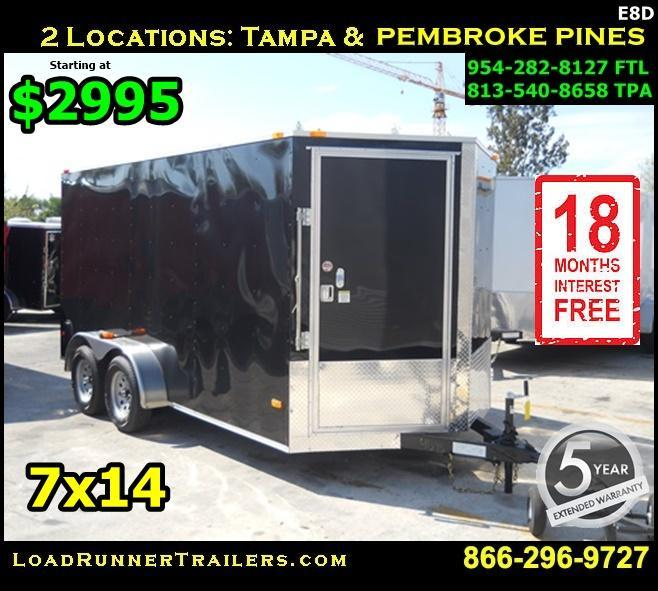 *E8D* 7x14 Car Haulers Enclosed Trailer Hauler Trailers 7 x 14 | EV7-14T-R